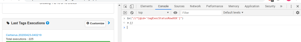 XPath Chrome Console